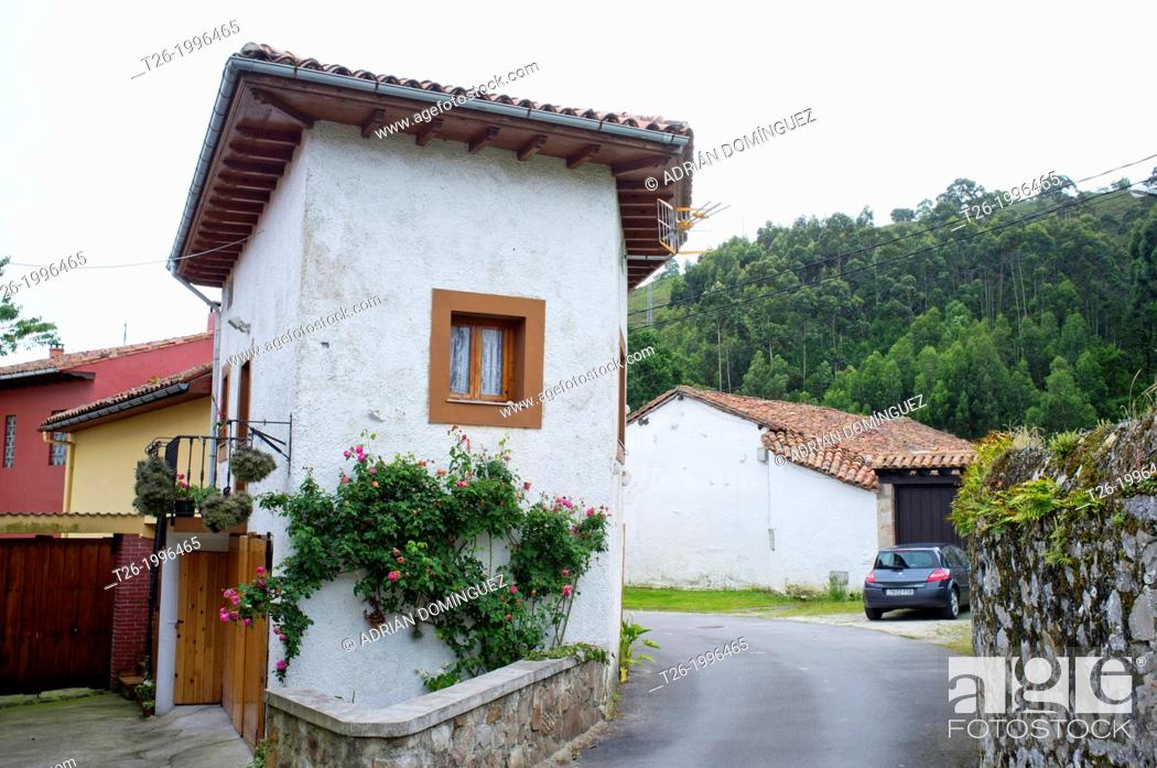 Stock Photo: View of Naves town in Asturias, Spain.