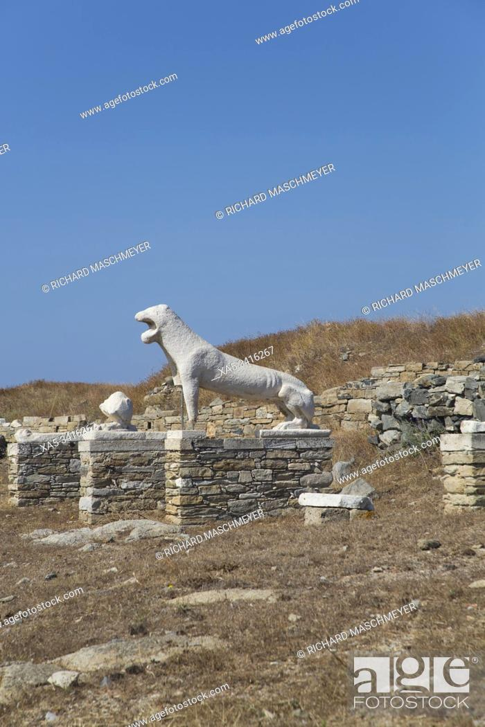 Stock Photo: Naxian Lions, Delos Island, UNESCO World Heritage Site, Cyclades Group, Greece.