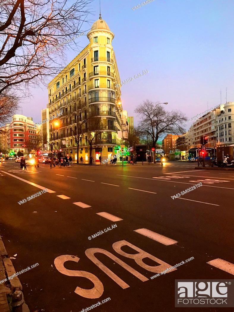 Stock Photo: Alcala street at dusk. Madrid, Spain.