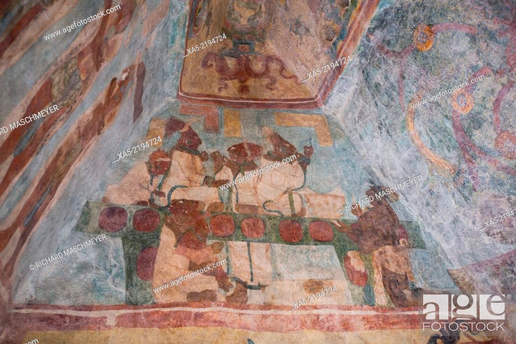 Stock Photo: Building 1, Room 3, Murals, Bonampak Mayan Archaeological site, Chiapas, Mexico.