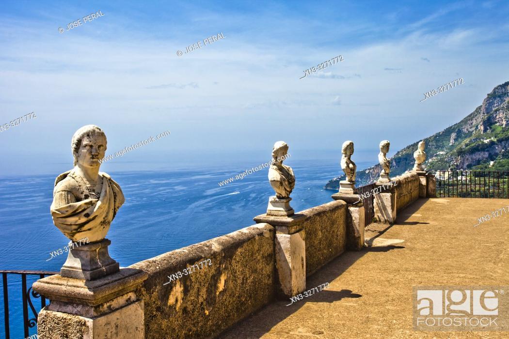 Stock Photo: The belvedere, the so-called Terrazzo dell'lnfinito, Villa Cimbrone, Ravello, Amalfi coast, Campania, Italy, Europe.