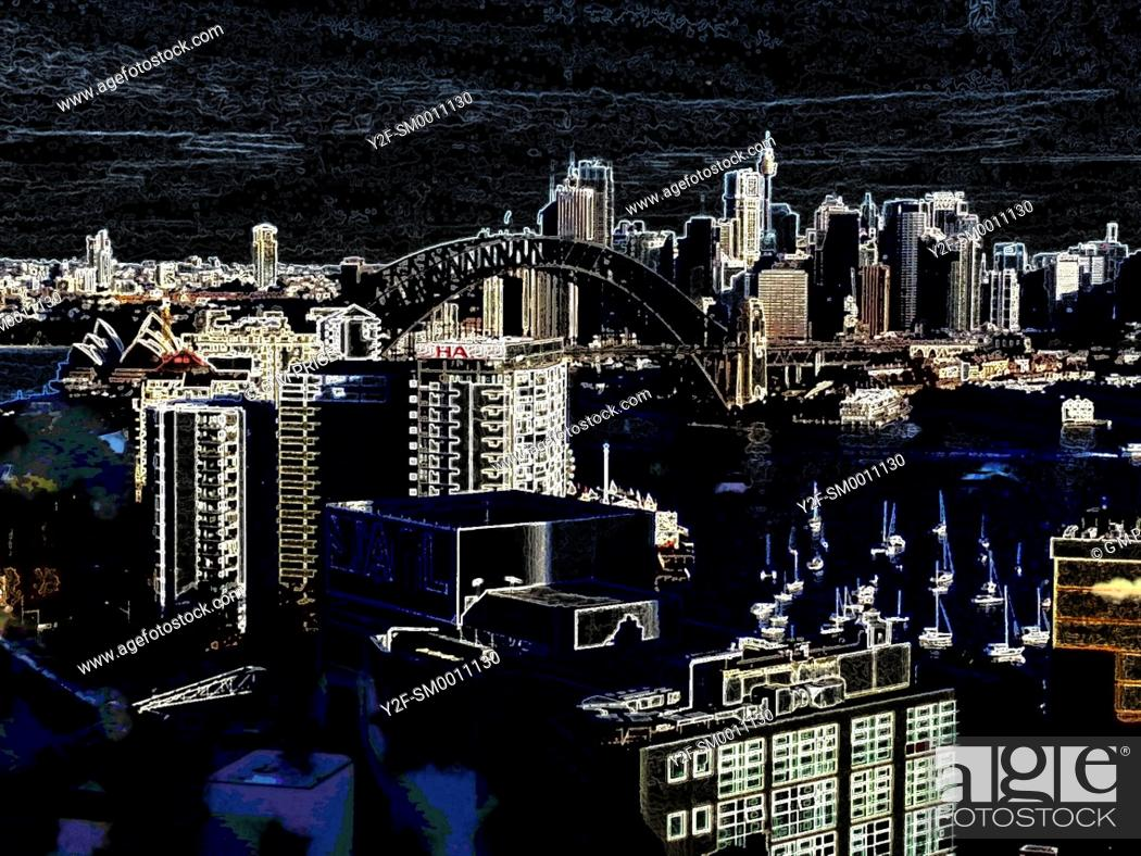 Imagen: dark manipulated view of Sydney skyline and high rise buildings.
