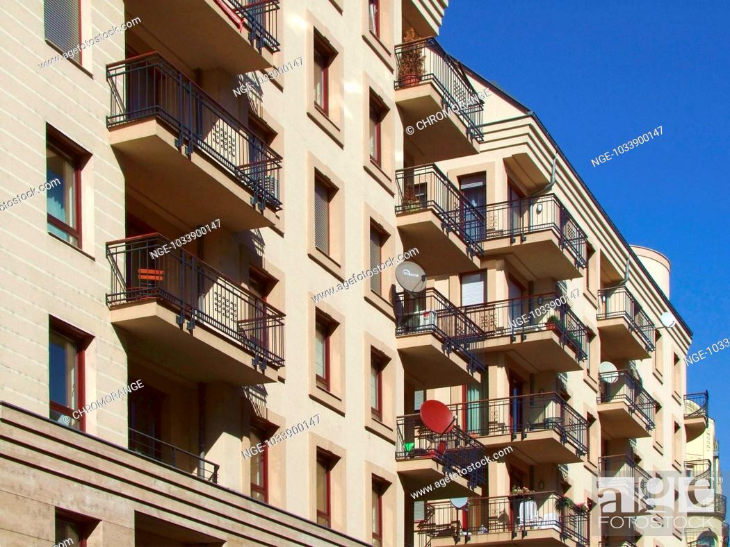 Imagen: Apartment Building Architecture with Balconies and Satellite Dishes, Budapest, Hungary, Europe.