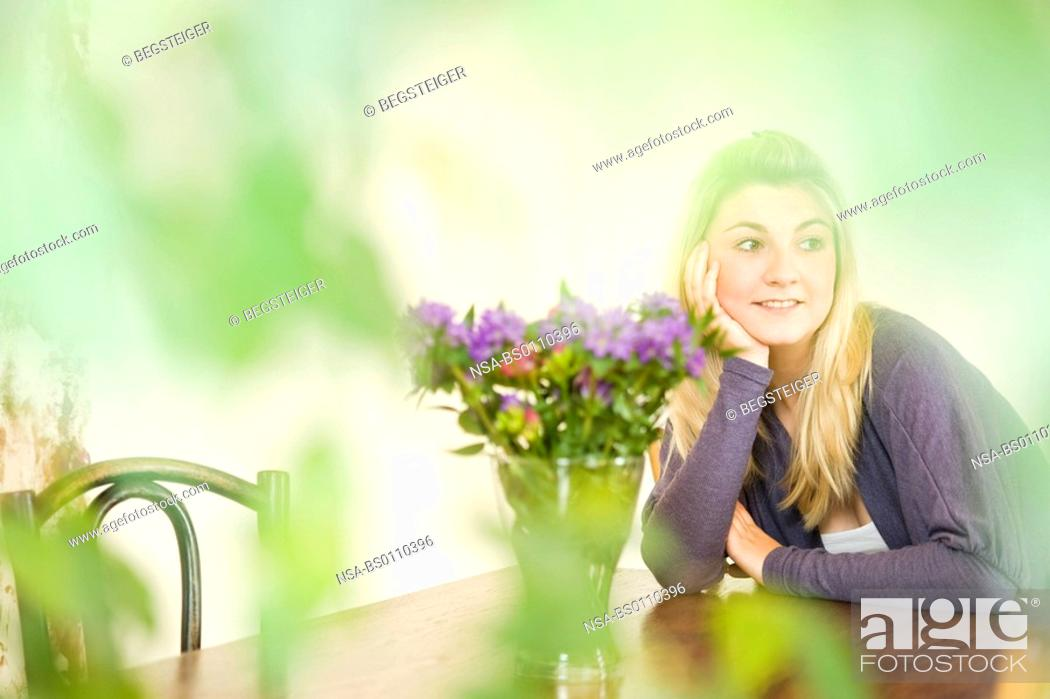 Stock Photo: woman beeing at table.