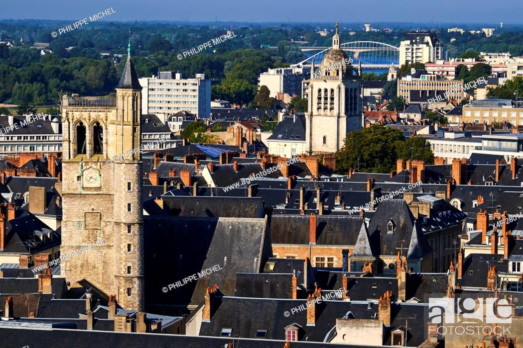 Imagen: France, Loiret, Orleans, cityscape, the Beffroi and the St Paul tower.