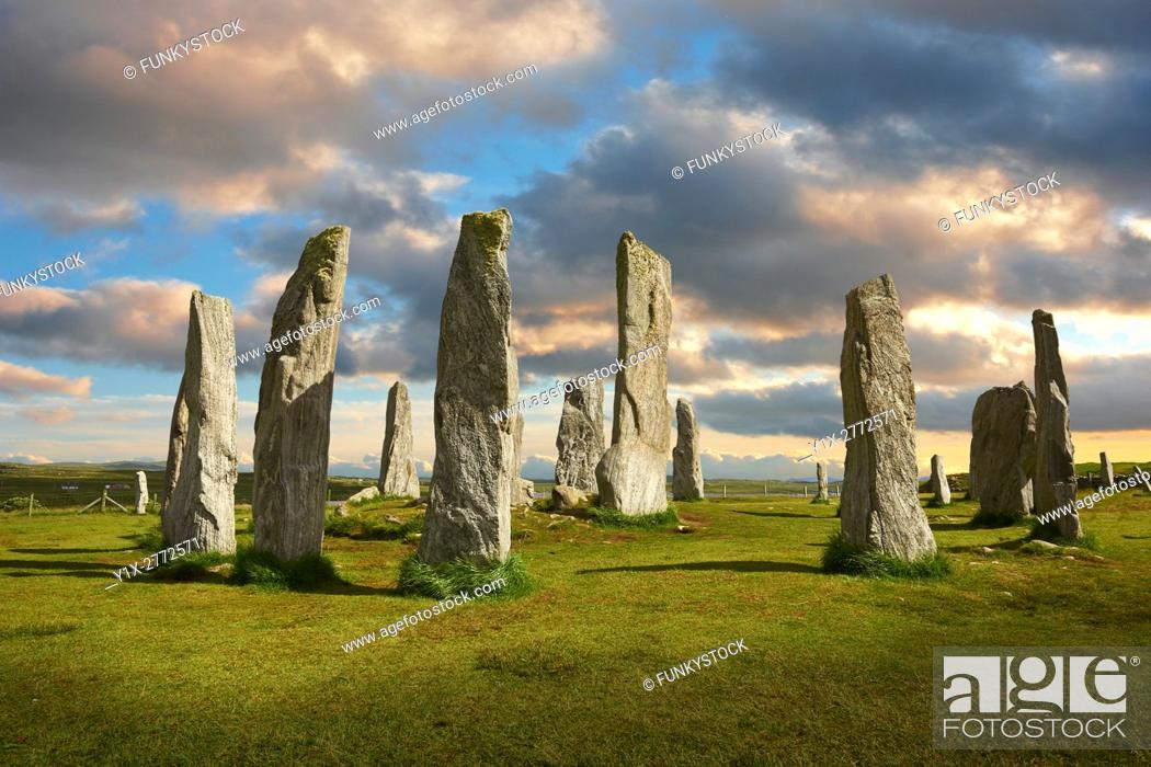 Stock Photo: Calanais Standing Stones central stone circle erected between 2900-2600BC measuring 11 metres wide. At the centre of the ring stands a huge monolith stone 4.