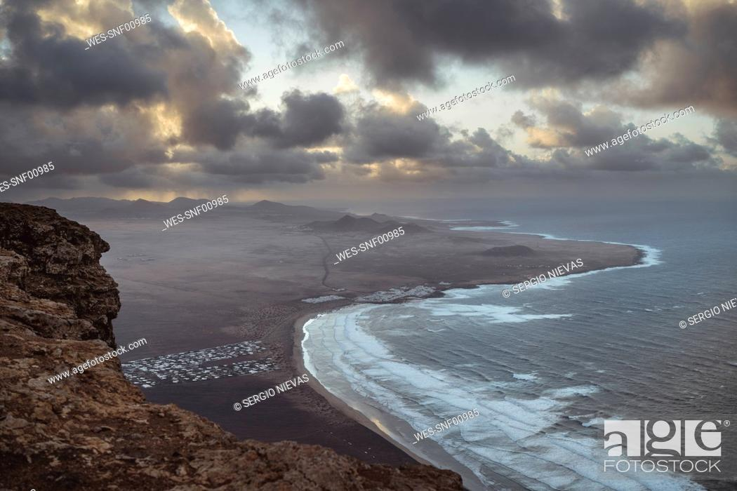 Stock Photo: Awe view of Famara Beach, Lanzarote, Spain.