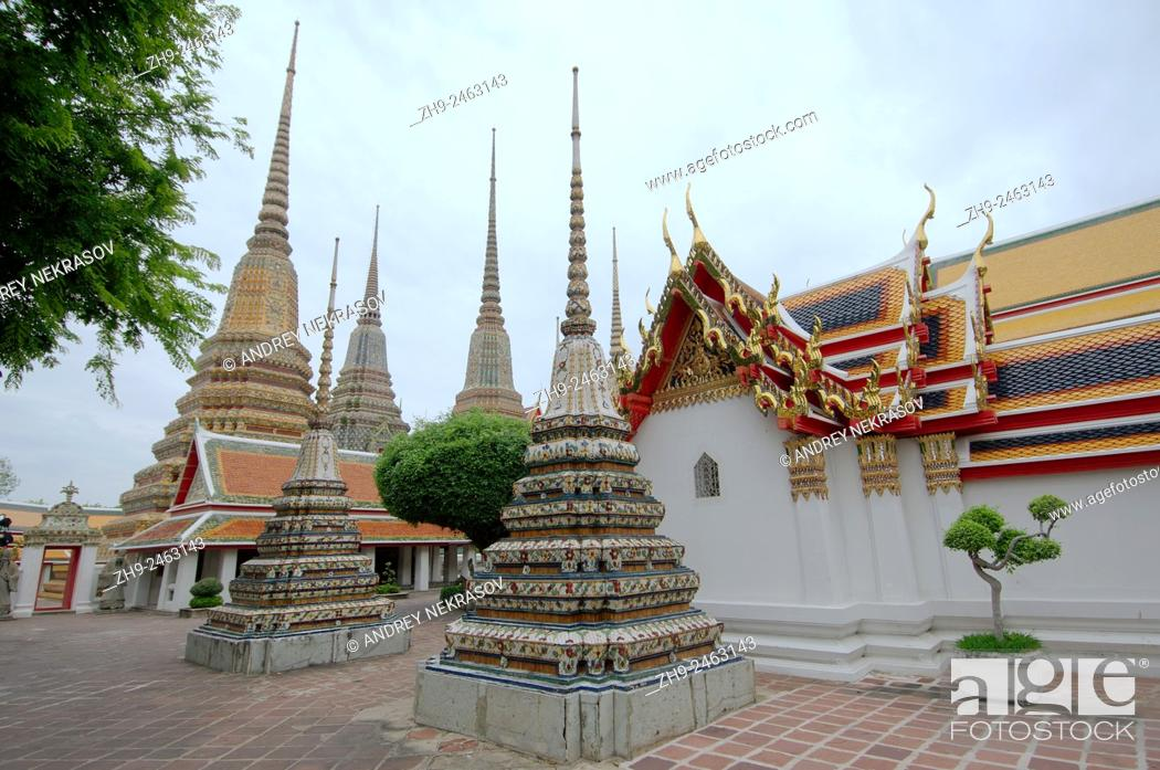 Stock Photo: Wat Pho - Temple of the Reclining Buddha, its official name is Wat Phra Chetuphon Vimolmangklararm Rajwaramahaviharn, Phra Nakhon district, Bangkok, Thailand.