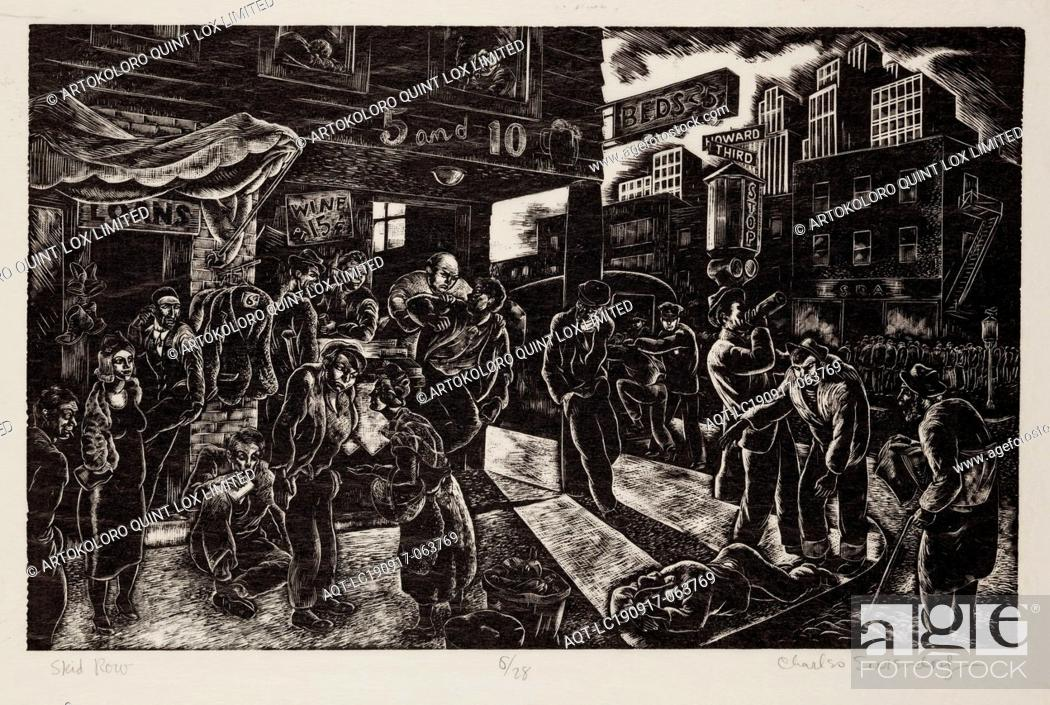 Stock Photo: Charles Surendorf, American, 1906-1979, Skid Row, 1938, wood engraving printed in black ink on tissue paper, Image: 7 7/8 × 12 1/8 inches (20 × 30.