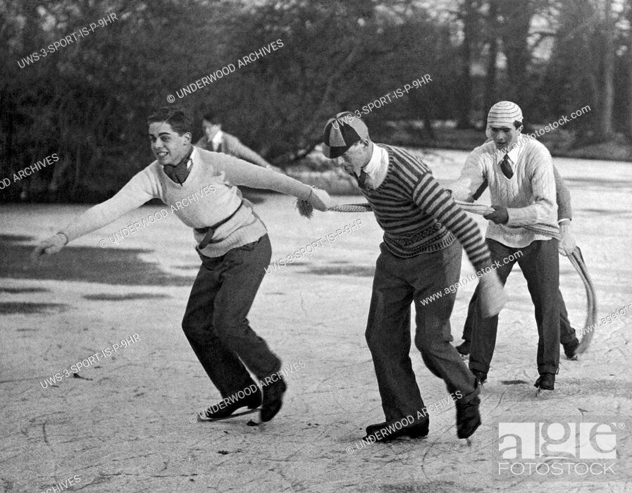 Stock Photo: Eton, England: 1925.Eton College celebrated its 485th birthday by giving the boys a holiday, which most spent skating on the lake at Ditton Park.