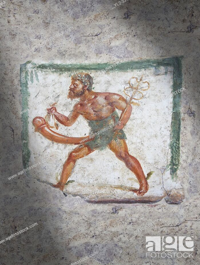 Stock Photo: Pompeii Roman Erotic Fresco of Mercury with a massive phalus rom Naples National Archaeological Museum, 1st cent AD , workshop Banner.