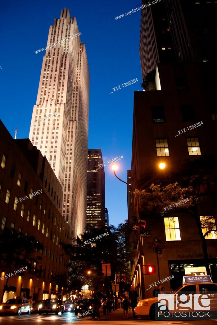 Stock Photo: The Rockefeller Center in Midtown Manhattan New York City.