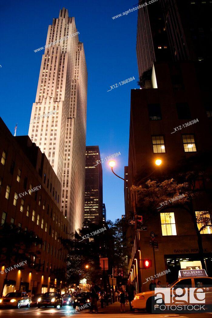 Stock Photo: The Rockefeller Center in Midtown Manhattan New York City.