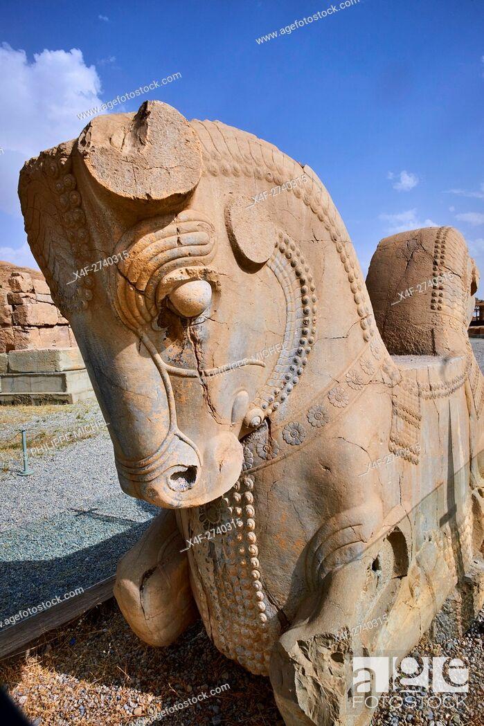 Stock Photo: Iran, Fars Province, Persepolis, World Heritage of the UNESCO, pillars of the Apadane palace.
