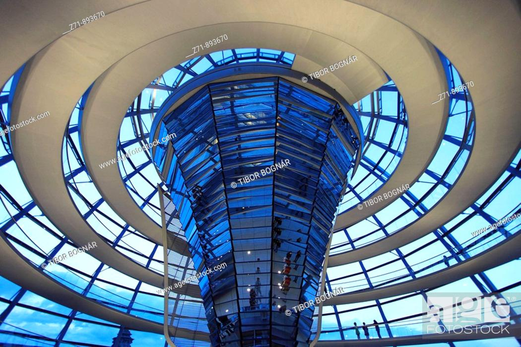 Stock Photo: Germany, Berlin, Reichstag, glass dome, cupola, Norman Foster architect.