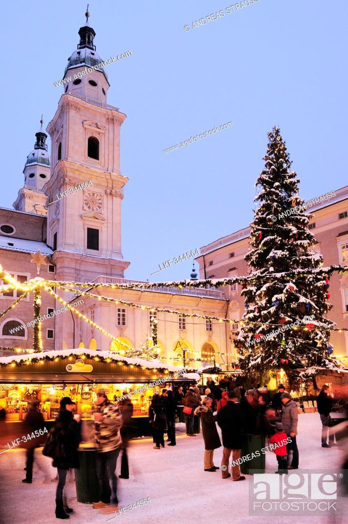 Salzburg Christmas Market.Christmas Market At Night With Cathedral Of Salzburg