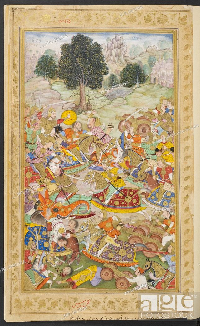 Stock Photo: Babur's army in battle against the army of Rana Sanga at Kanvaha in which bombards and field guns were used 1527. An illustration to the memoirs of the Emperor.