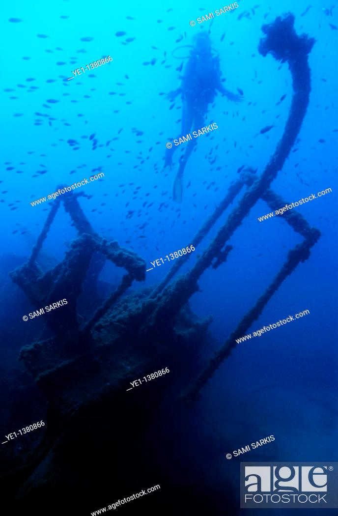 Stock Photo: Diver exploring the Dalton Shipwreck with a school of fish swimming in the background, Marseille, France.