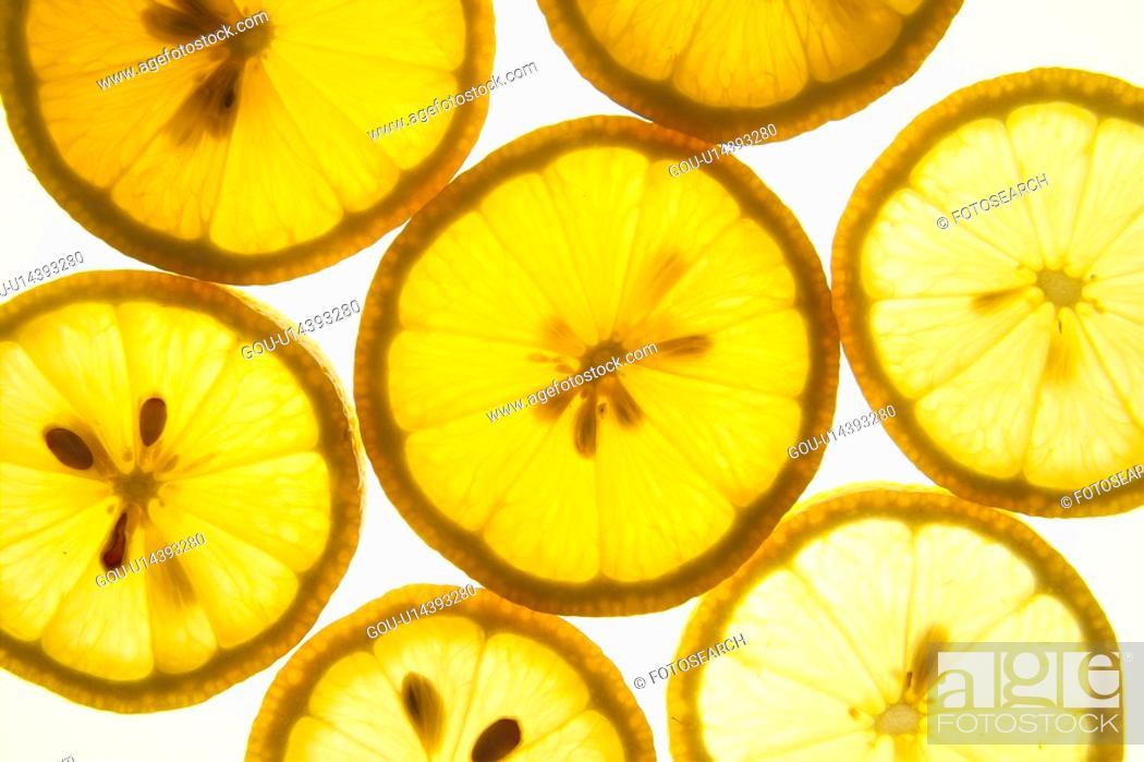 Stock Photo: plants, lemon, plant, seed, fruit, tangerine, slice.