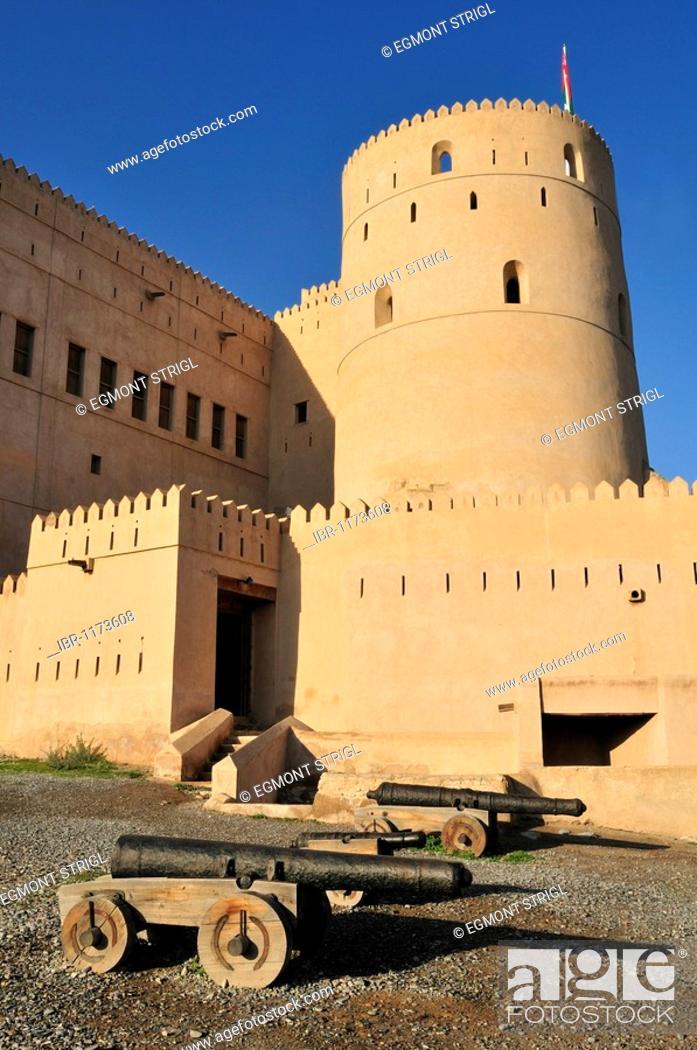 Stock Photo: Historic adobe fortification Rustaq Fort or Castle, Hajar al Gharbi Mountains, Batinah Region, Sultanate of Oman, Arabia, Middle East.