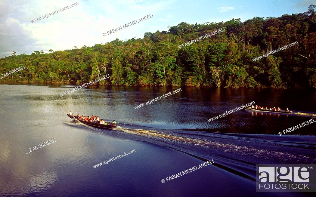 Stock Photo: Aerial view of tourist boats going up Carrao river. Canaima National Park, Bolivar State, Southern Venezuela.