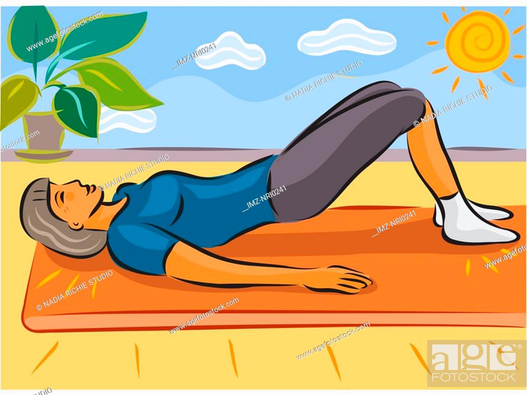 Stock Photo: An elderly woman stretching her back doing a yoga pose.