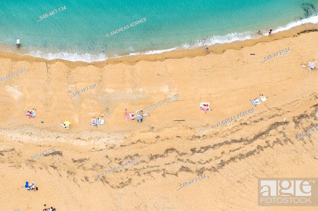 Stock Photo: Peope at beach, Biarritz, Aquitaine, France.