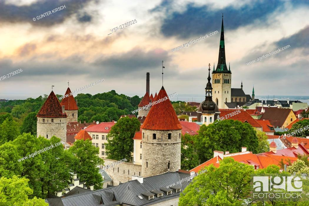 Photo de stock: View over Tallinn to the city wall and the St. Olavs Church (Oleviste kirik). The church was built in Gothic style and is located in the northern part of the.