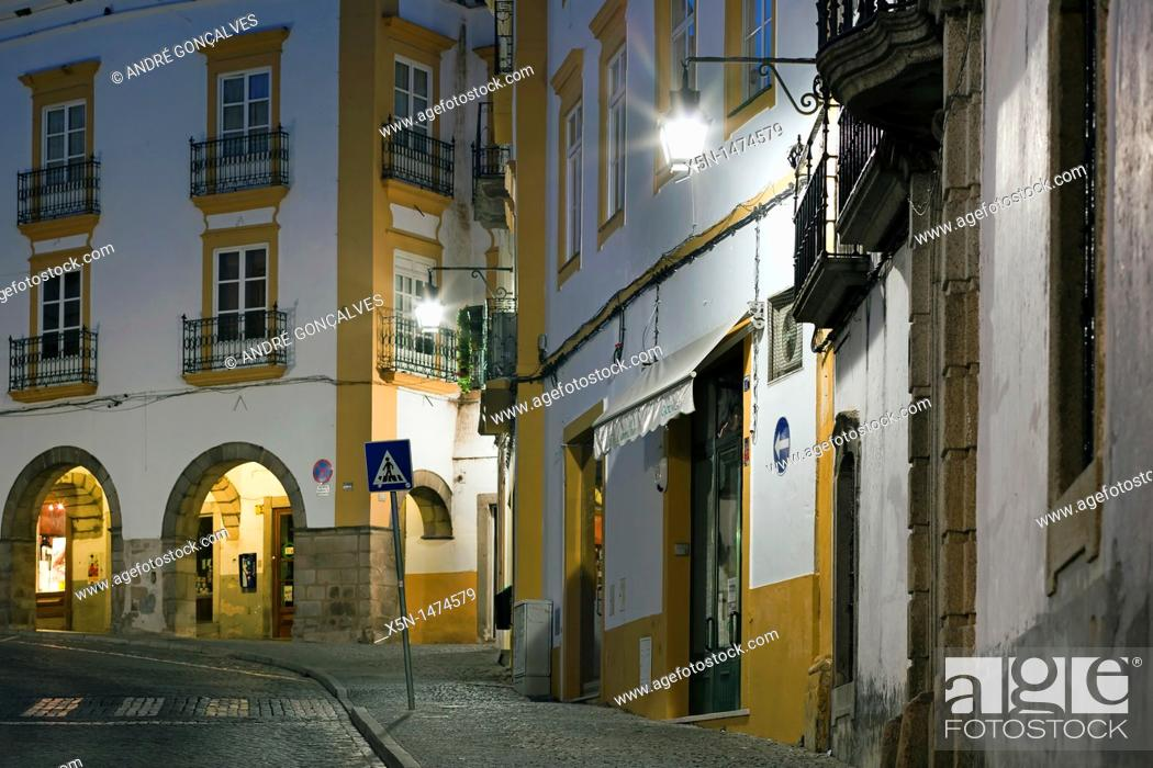 Stock Photo: Republica Street, Evora, Portugal, Europe.