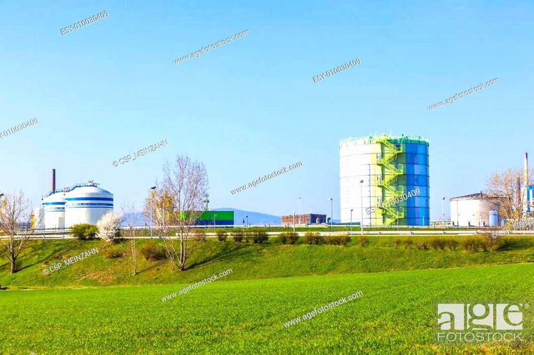 Stock Photo: silo in Industry Park in beautiful landscape near Frankfurt.