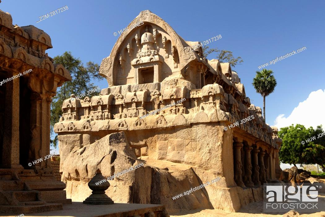 Stock Photo: The Five Rathas Group, Mahabalipuram, UNESCO World Heritage Site, Near Chennai, Tamil Nadu state, India, Asia.