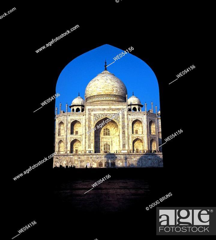 Stock Photo: The Taj Mahal through entrance gates. Agra, India.