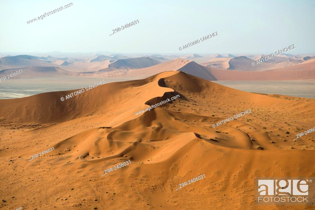 Aerial view of the dunes of the Namib Naukluft, the oldest