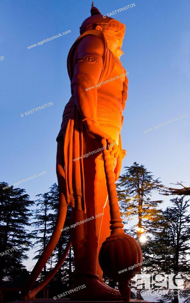 Stock Photo: Lord Hanuman statue at Jakhoo Temple, Jakhoo Hill, Shimla, Himachal Pradesh, India.