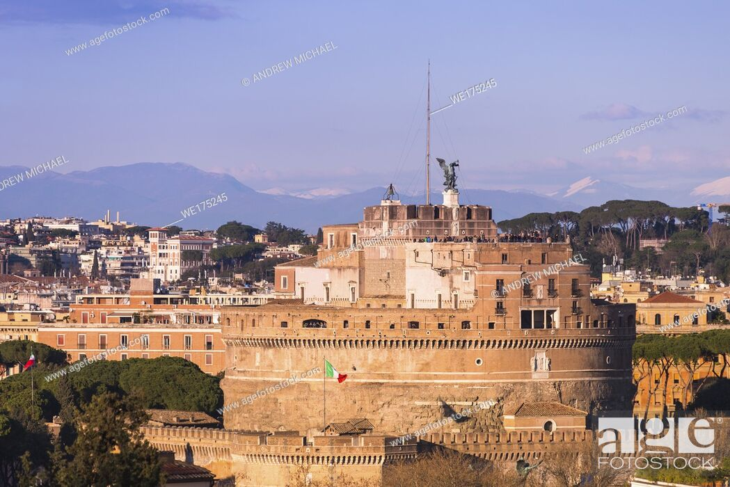 Stock Photo: Castel Sant'Angelo (Castle of Holy angel) at golden hour. seen from Janiculum hill, Rome. Lazio. Italy.