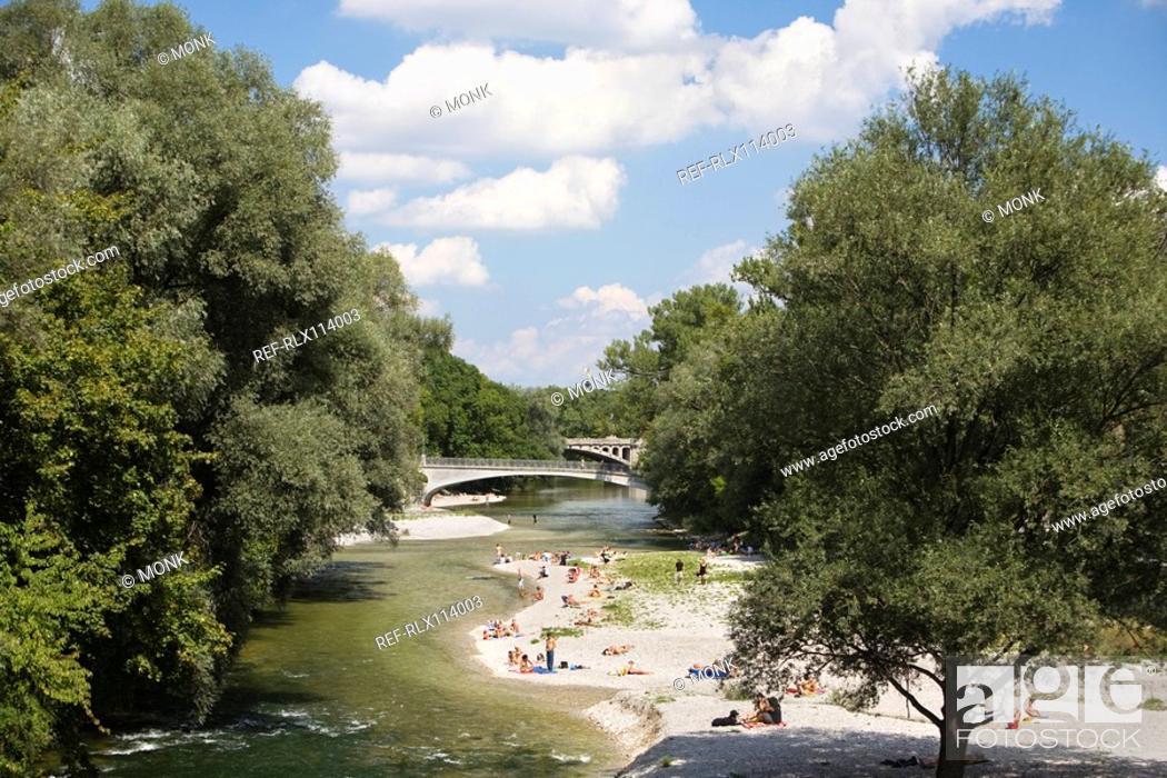 Stock Photo: River Isar, Munich, Bavaria, Germany.
