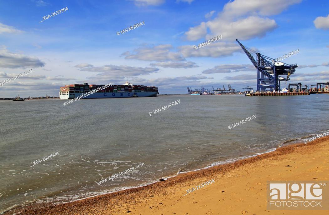Cosco shipping line container ship arriving at Port of