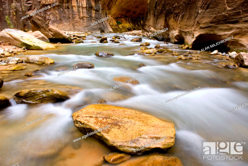 Stock Photo: The Virgin River flowing through the Zion canyon narrows, Zion National Park. Utah, USA.