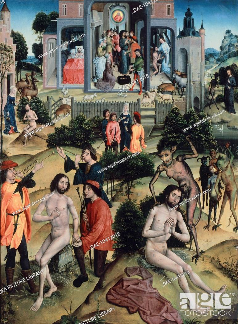 Stock Photo: Scenes from the life of Job, 1480-1490, attributed to the Master of the Legend of Santa Barbara (active ca 1470-1500), oil on panel, 118.5x86 cm.