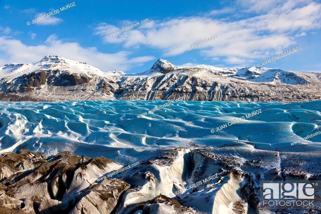 Stock Photo: Svinafellsjokull glacier, Skaftafell National Park, Southern Iceland, Iceland, Europe.