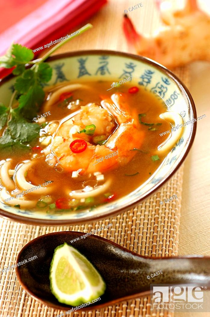 Stock Photo: prawn soup with galanga and cafre lime juice.