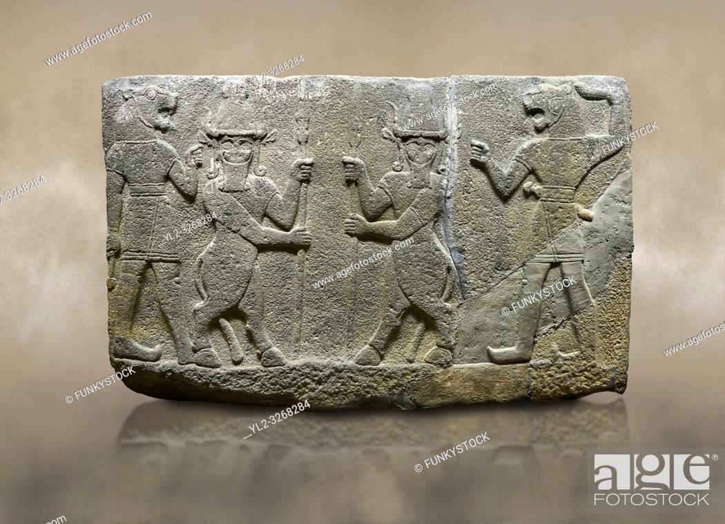 Stock Photo: Hittite relief sculpted orthostat stone panel of Herald's Wall. Basalt, Karkamıs, (Kargamıs), Carchemish (Karkemish), 900-700 B. C.
