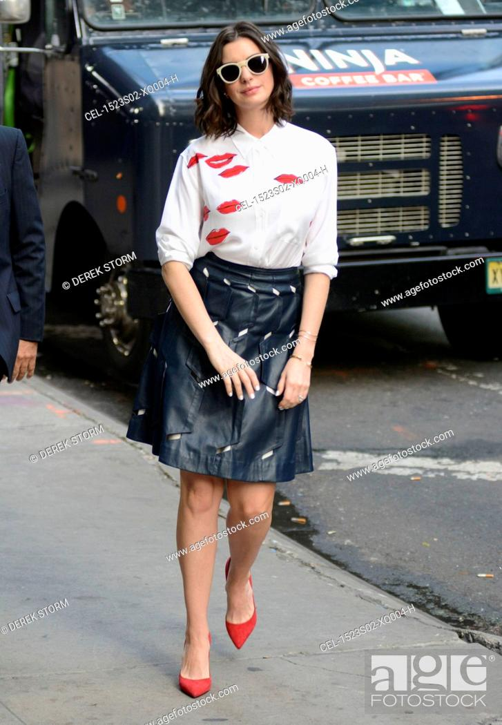 Stock Photo: Anne Hathaway (wearing a Garance Dore X Equipment shirt and an Osman skirt) at Good Morning America out and about for Celebrity Candids - WED, , New York.