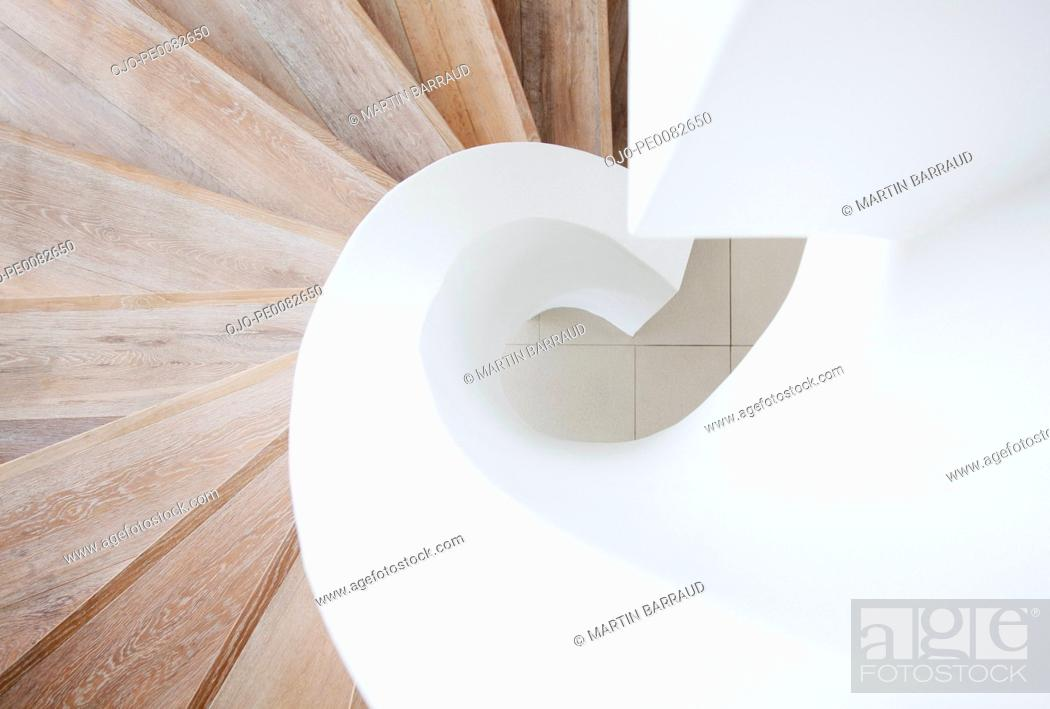 Stock Photo: High angle view of curving staircase.