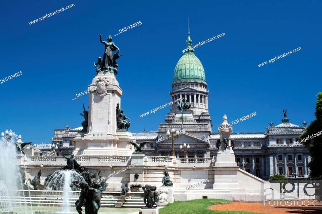 Stock Photo: Argentina, Buenos Aires, Palacio del Congreso, government legislature.