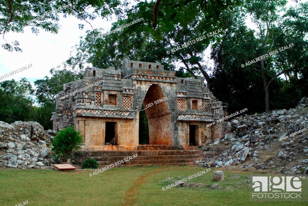 Stock Photo: Labna Mayan Arch Yucatan Mexico.