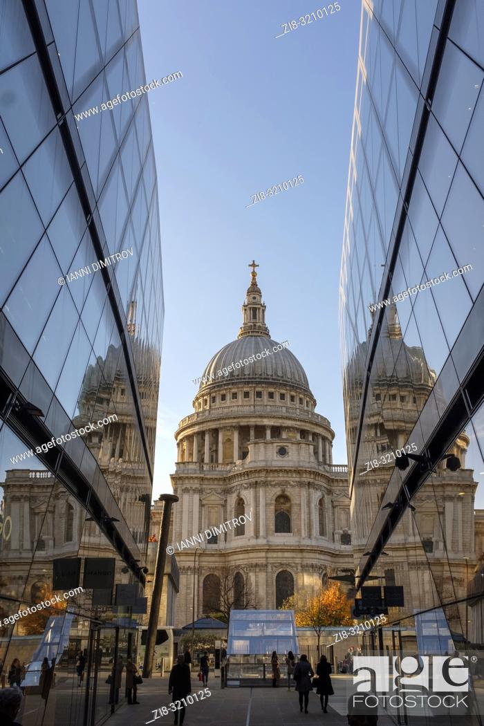Stock Photo: England , London, Saint Pauls Cathedral fom One New Change High-end Shopping complex at night.