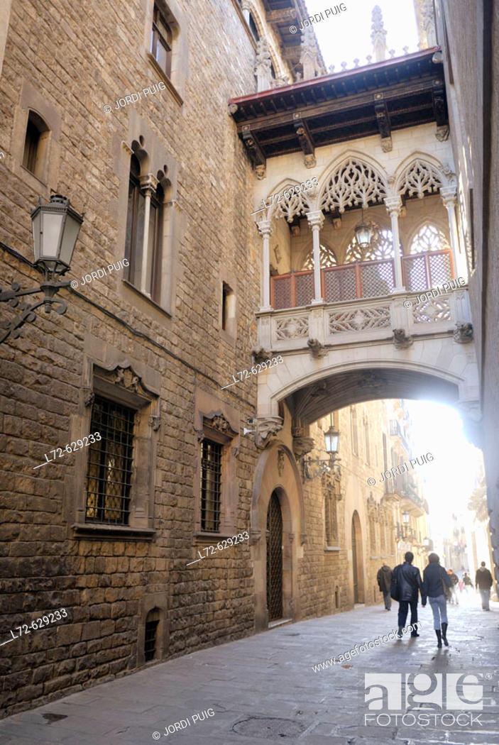 Stock Photo: Carrer del Bisbe. Gothic Quarter. Barcelona. Catalonia. Spain.