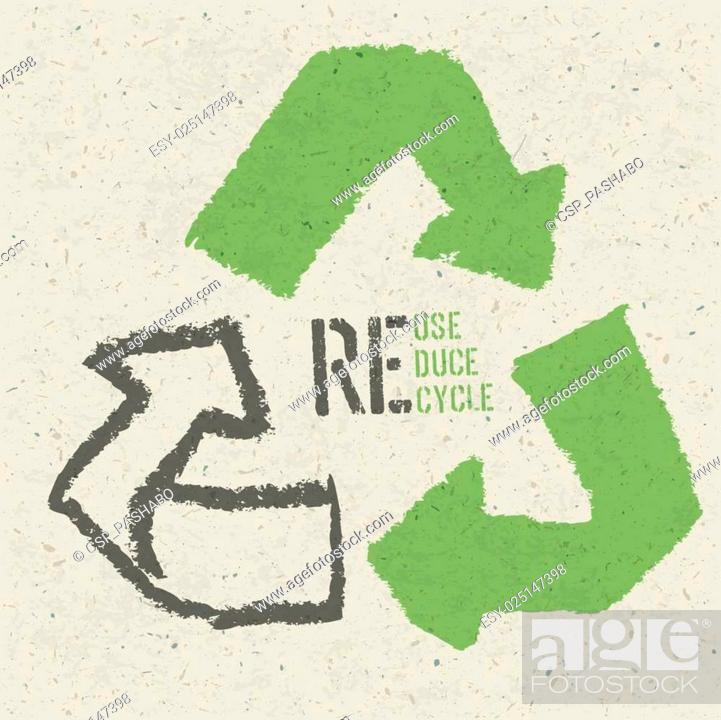 Stock Vector: Reuse conceptual symbol and Reuse, Reduce, Recycle text on Recycled Paper Texture.