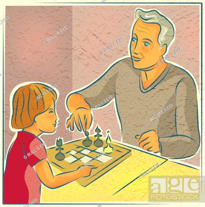 Stock Photo: An elderly man playing chess with a young child.